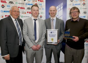 TTA Award 2014-Best Use of Tile in a Domestic Environment - L to R; Ian Kershaw (TTA Chairman)Tom Rogers,Duncan Cook,Mathew Arustrung (Sailsbury House Farm-Master Suite)-JPG_HIP7052